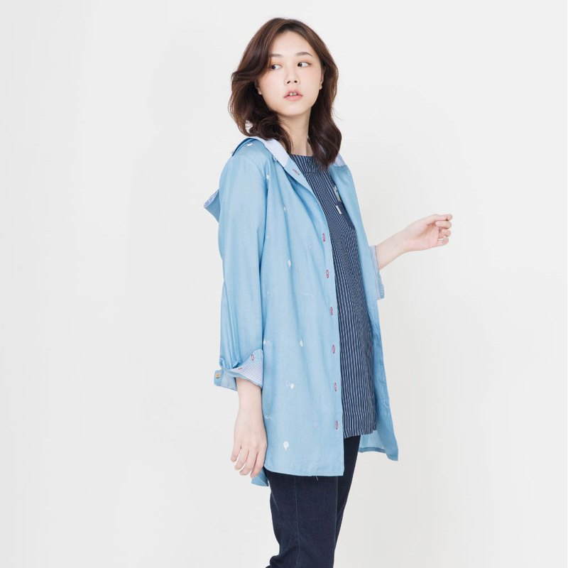 Tencel Embroidered Long Hooded Jacket (2 colors total)