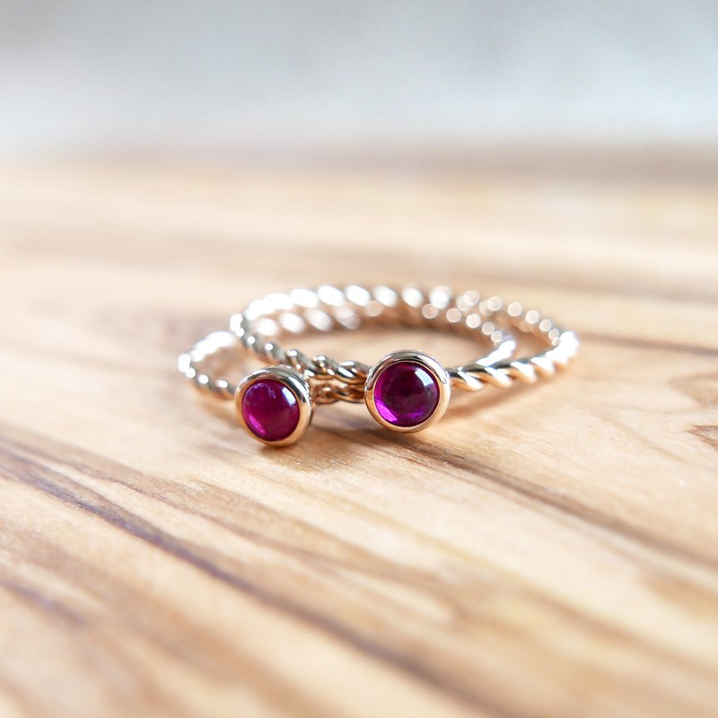 18k Twist Rope Cabochon Ruby Solid Gold Ring, July ring, Stacking everyday ring