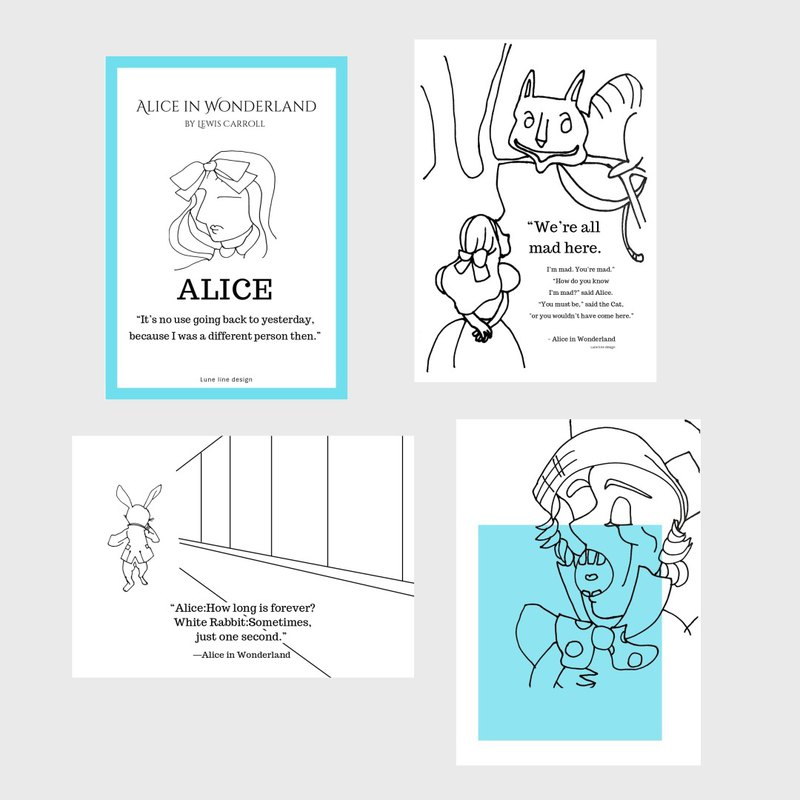 Alice in Wonderland Notebook | Pocket Stationery | Alice Decoration Decoration Gifts
