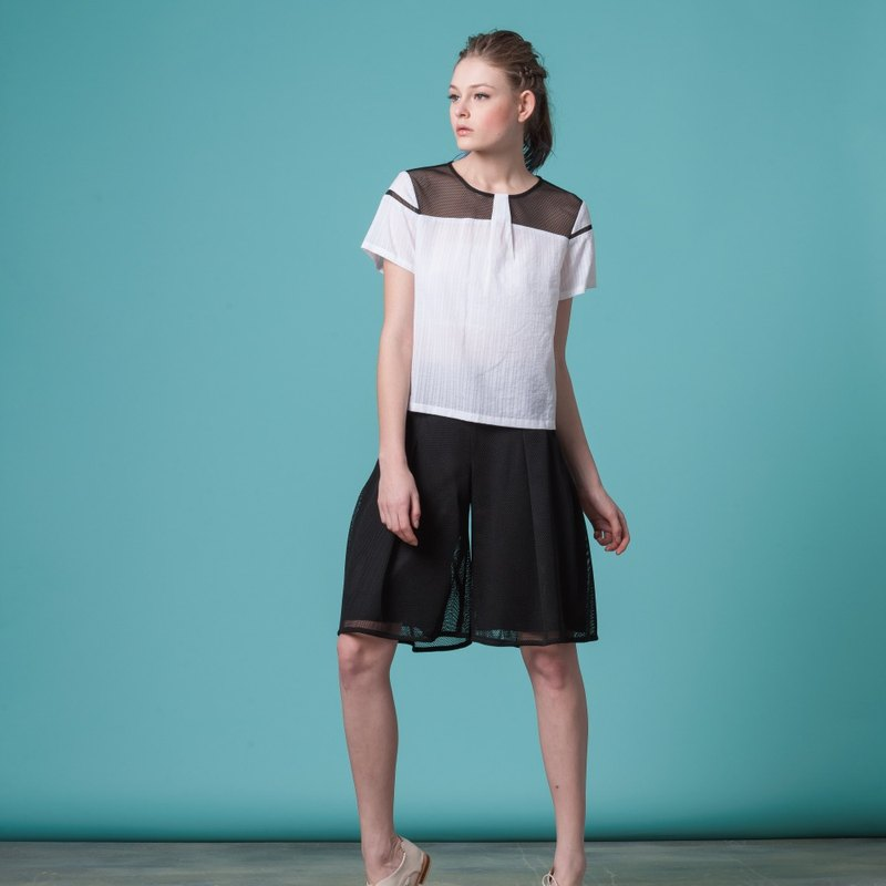 Stitching mesh short sleeve shirt (FIT029C0315-S FIT029C0316-M)