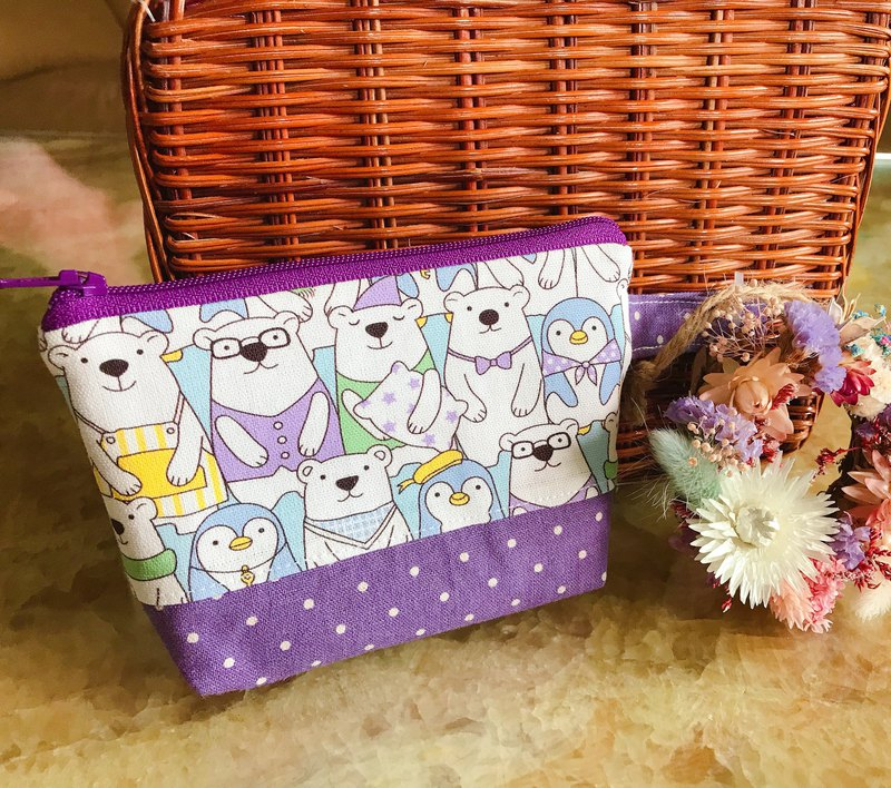 Birdbird Paradise - Handmade Cloth Pack Polar Bear Penguin Dumpling Pack Card Coin Purse Makeup Pouch