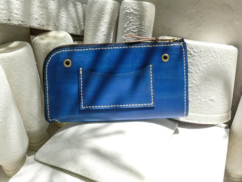Do not hit Bao Bao blue vegetable tanned leather full leather universal wallet