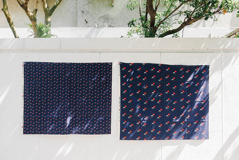 Rabbit design fabric-Mt. Fuji / Classic Navy