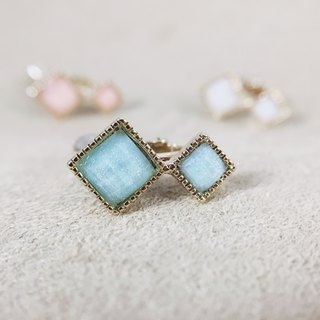 Golden Years of the Moon - Aqua Blue Ear Clips (pair)
