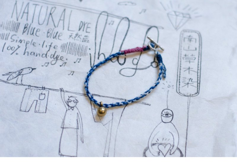 Quaint sense | two-color handkerchief hand strap retro blue dyed hand rope bracelet bracelet hemp hand-woven cotton twine