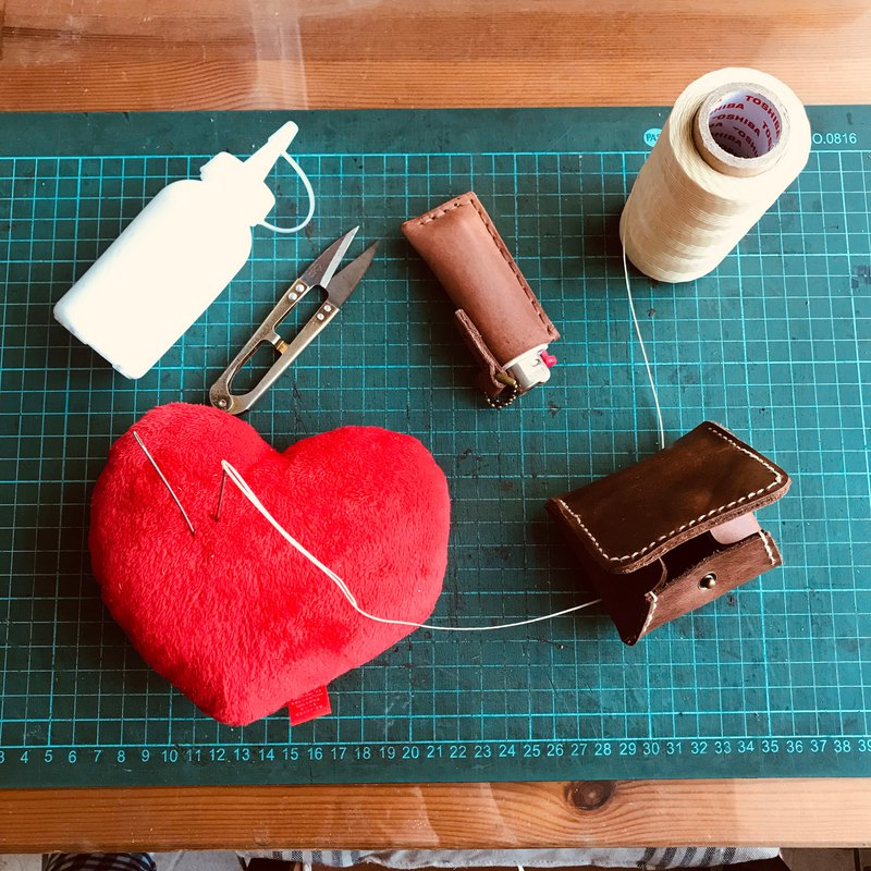 【Workshops】DIY course teaching leather purse chrome tanning hand made peach garden