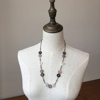 Golden purple white painted glass beads necklace purple, black and white color necklace