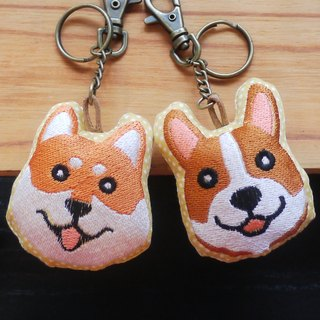 A family-embroidered key ring dog and cat figure optional 1+1 discount embroidered English name please note