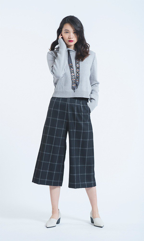 Black pearl plaid wool wide pants