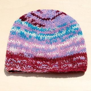 Christmas hand made of pure wool hat / knitted caps / bristles hand-woven caps / wool cap (made in nepal) - Gradient Pink
