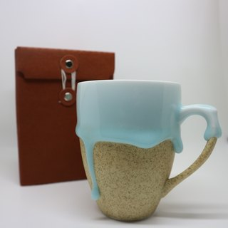 Summer Gifts - Baby Blue in Melted Ceramic Coffee Mug - 300ml Large