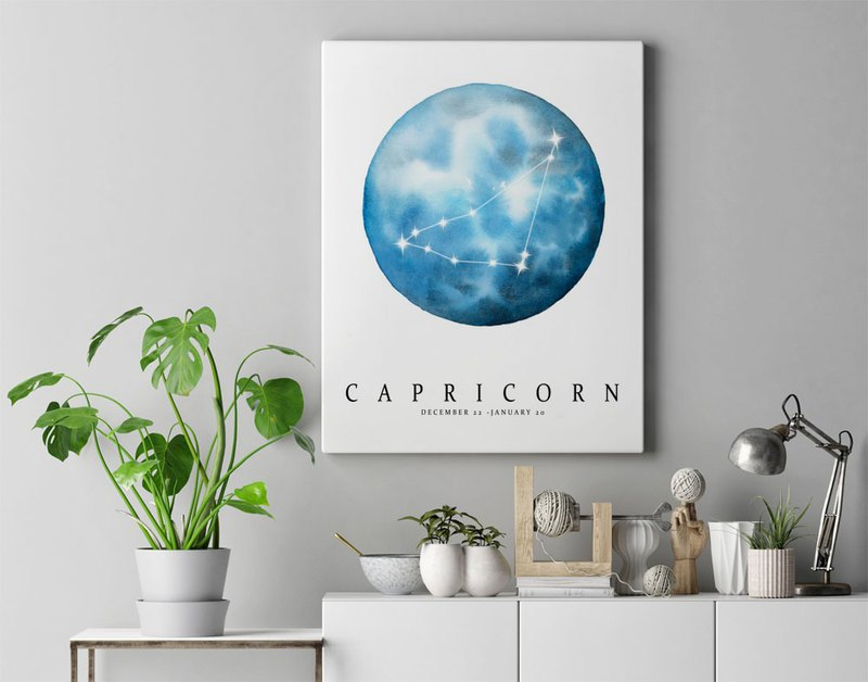 【Capricorn】Zodiac Watercolor Art Print. Moon Constellation Horoscope Stars.