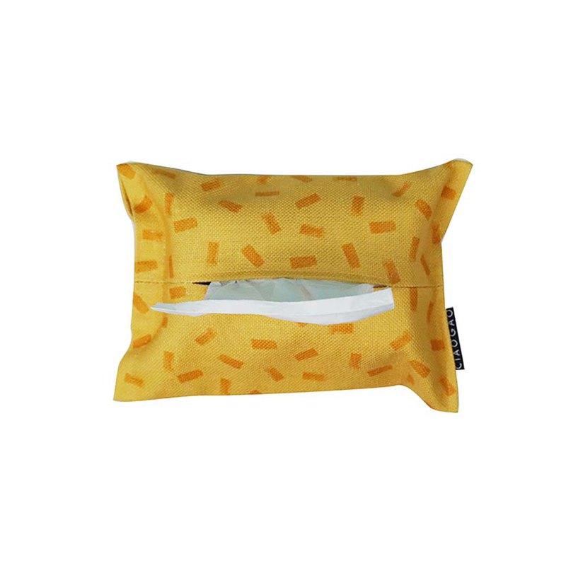 草稿CIAOGAO 北歐家用車載布藝紙巾盒紙巾袋紙巾套 幾何排列粉黃