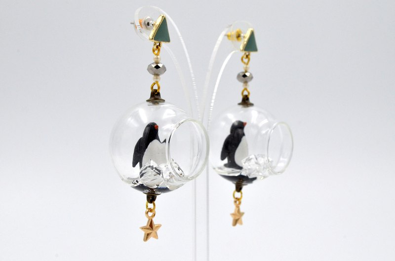 TIMBEE LO Glass Ball Ice and Snow Crystal Penguin Earrings