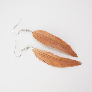 Leather Crave Earring Feather design - Rust