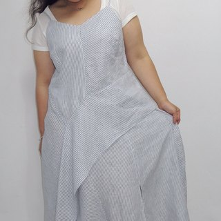 - Chicken mother dock marshmallow girl - outside the cotton light blue striped draping long dress (please ask if there is any goods before ordering)