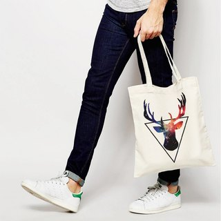 Triangle Deer (Spot) canvas bag shopping bag green shoulder bag bag white triangle deer bearded animal Galactic Space Arts Youth Arts