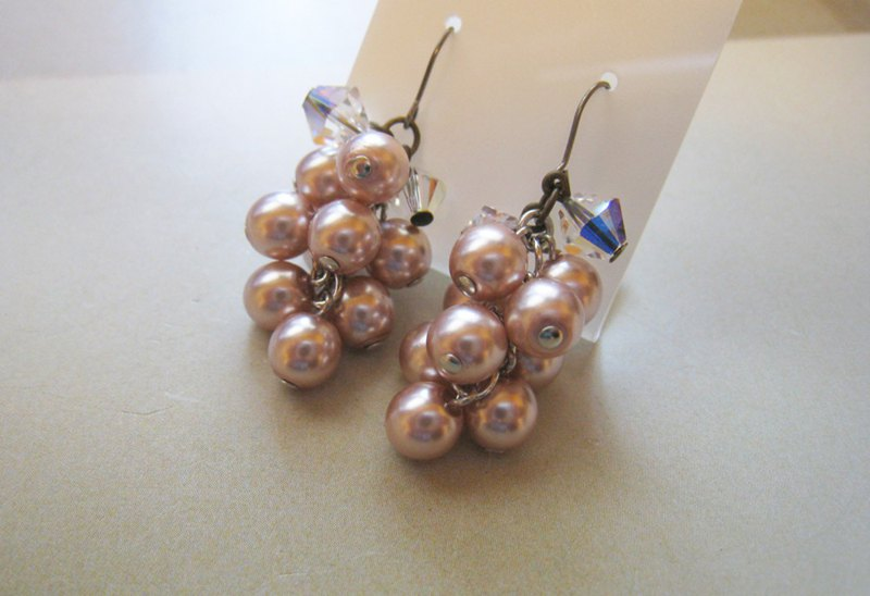 Silky Pearl & Swarovski Crystal Pierced Earrings / SMC : Pink
