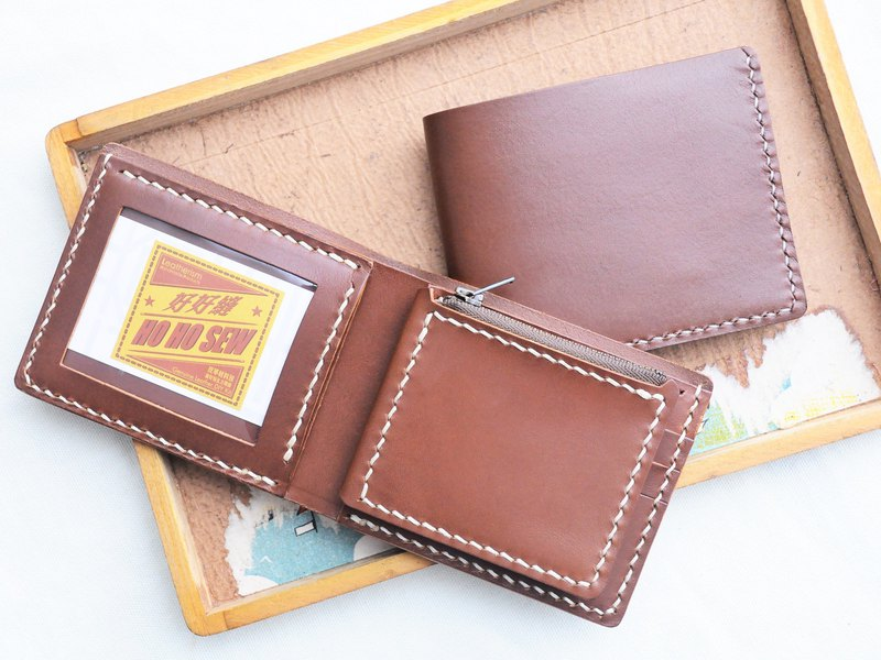 [3 cards photo purse short clip ** two into the group] Good sewing leather material package free lettering handmade package couple silver wallet short wallets short fiscal simple and practical Italian leather vegetable tanned leather DIY companion slim lea