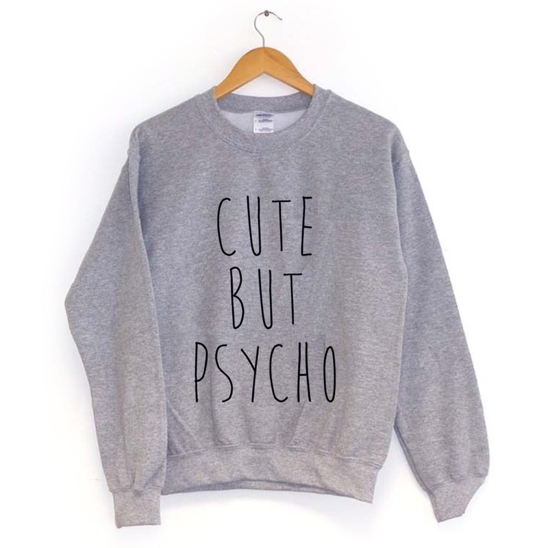 CUTE BUT PSYCHO American University bristles Cotton T- gray green paper art design fashion fashionable word