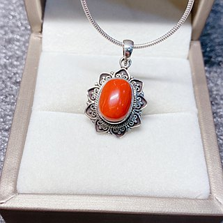Coral Pendant Handmade in Nepal 92.5% Silver