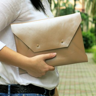LARGE Beige Glossy Leather Envelope clutch, Bridesmaid Clutch, leather bag