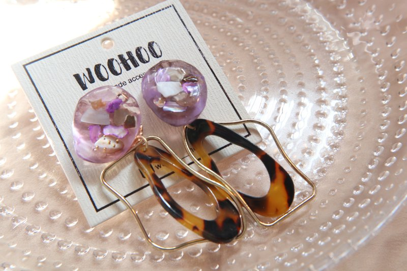 Large gemstone series | 2ways resin earrings ear clip 925 ear needle | two colors | Made in Hong Kong