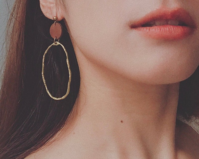 Handmade earrings, irregular embossed copper ring earrings