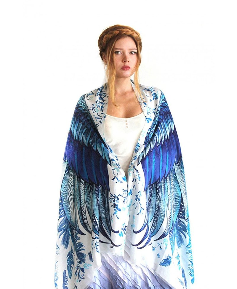 Blue Wings Scarf - Silk Cashmere