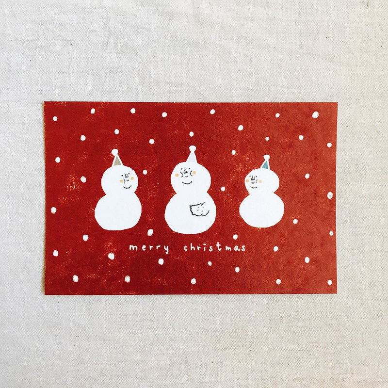 Christmas postcard / meat meat snowman