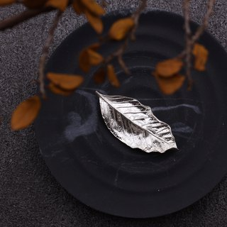 Guava Leaf 925 Sterling Silver Brooch Nature Plant