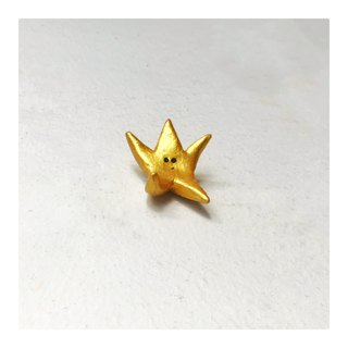Star control small mischievous smiley cute wind hand made 14k gold-plated couple brooch badge Christmas New Year gift