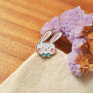 [Series] BONA SUMAIRU Bunny metallic paint badge / brooch ★ blue tie BOBO rabbit (single paragraph)
