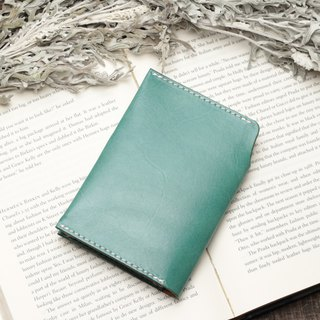 Retro marine blue hand dyed yak leather handmade passport holder
