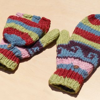 Christmas gifts creative gift limit a hand-woven pure wool knitted gloves / detachable gloves / warm gloves (made in nepal) - North Island Ou Feier totem rainbow colored candy