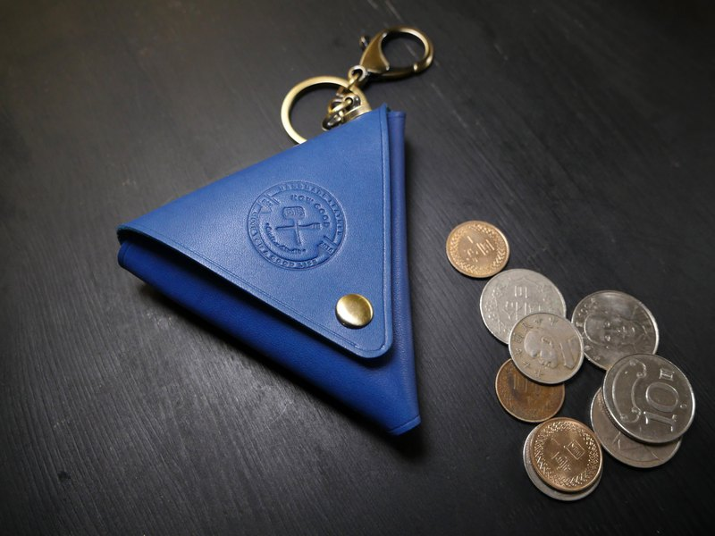 [In Promotion] Vegetable-tanned Leather Triangle Coin Purse-Royal Blue