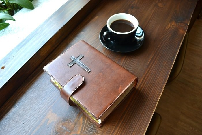 Real leather hand made Bible book cover cross (does not contain paper Bible) custom printed English word