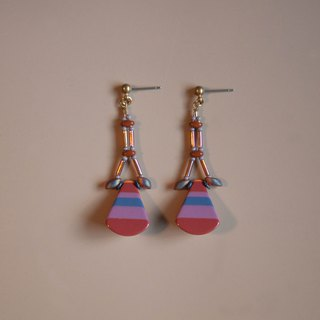 Retro Stripes Rust Purple & Red Drop Earrings