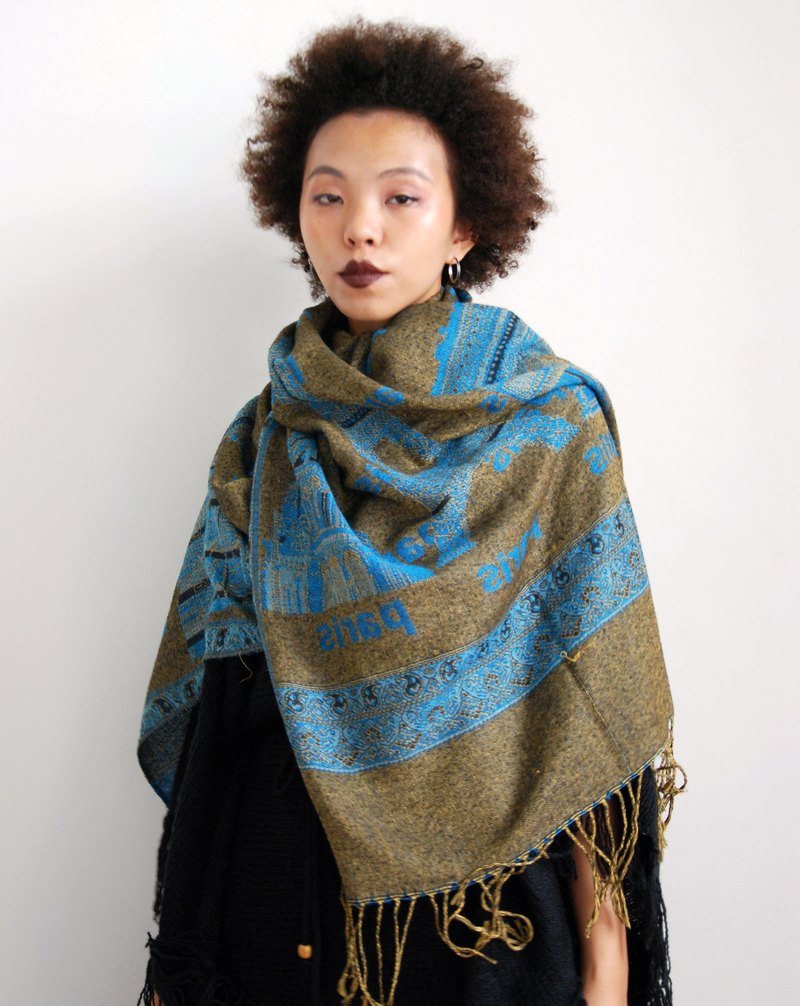 Pumpkin Vintage. Ancient Paris Tower Tassel Scarf / Shawl
