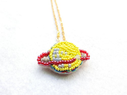 Handmade Beaded Planet Necklace (Yellow)