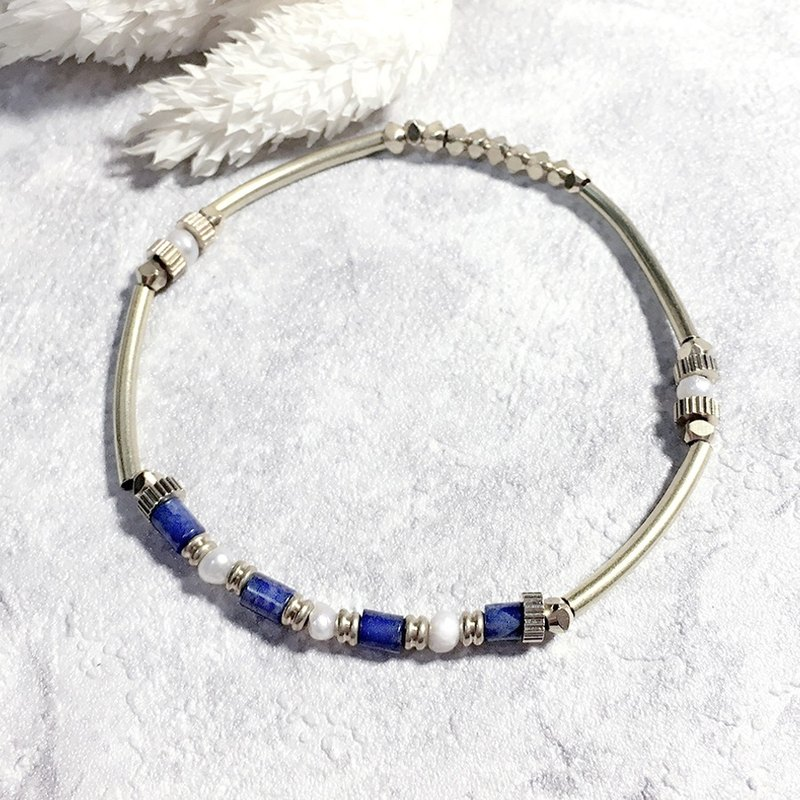 ♦ ViiArt ♦ Flashes - Blue ♦ soda stone pearl bracelet brass