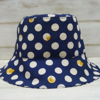 Little yellow dog little blue checkered double-sided fisherman hat visor