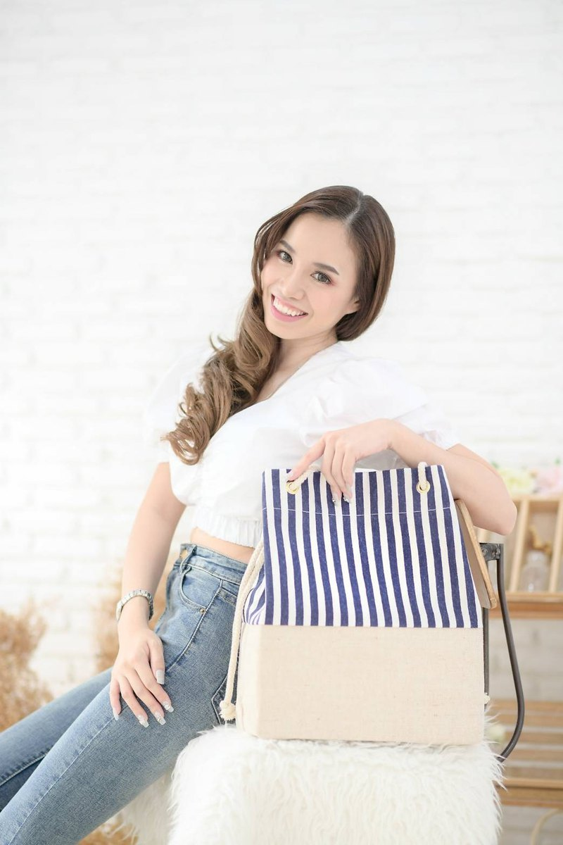 Navy stripe beach tote bag with adjustable handle