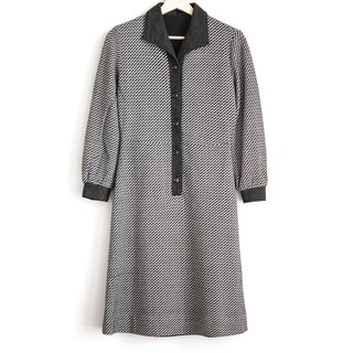 Vintage line spread wool vintage long-sleeved dress