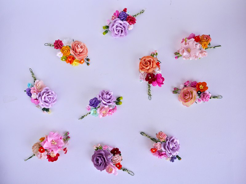 10 Small Paper Flower Bouquets, centerpiece, peach, pale pink and purple theme