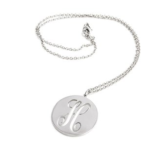 Custom name necklace 1 monogram font round shape pendant