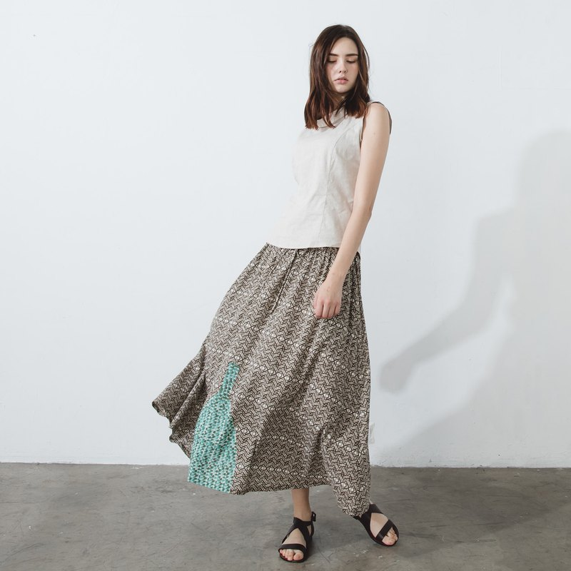 Drawstring maxi skirt - cover dyed printing