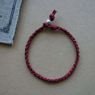 Red and black generous / fine bracelet / sterling silver braided bracelet classic round / 925 silver bracelet