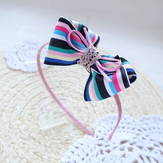Children hair bands color stripes bow head knives head ornaments