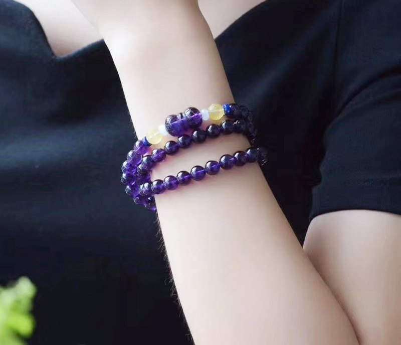 [Welfare price] natural amethyst three circle bracelet / with natural amethyst double lotus transfer beads / super beautiful